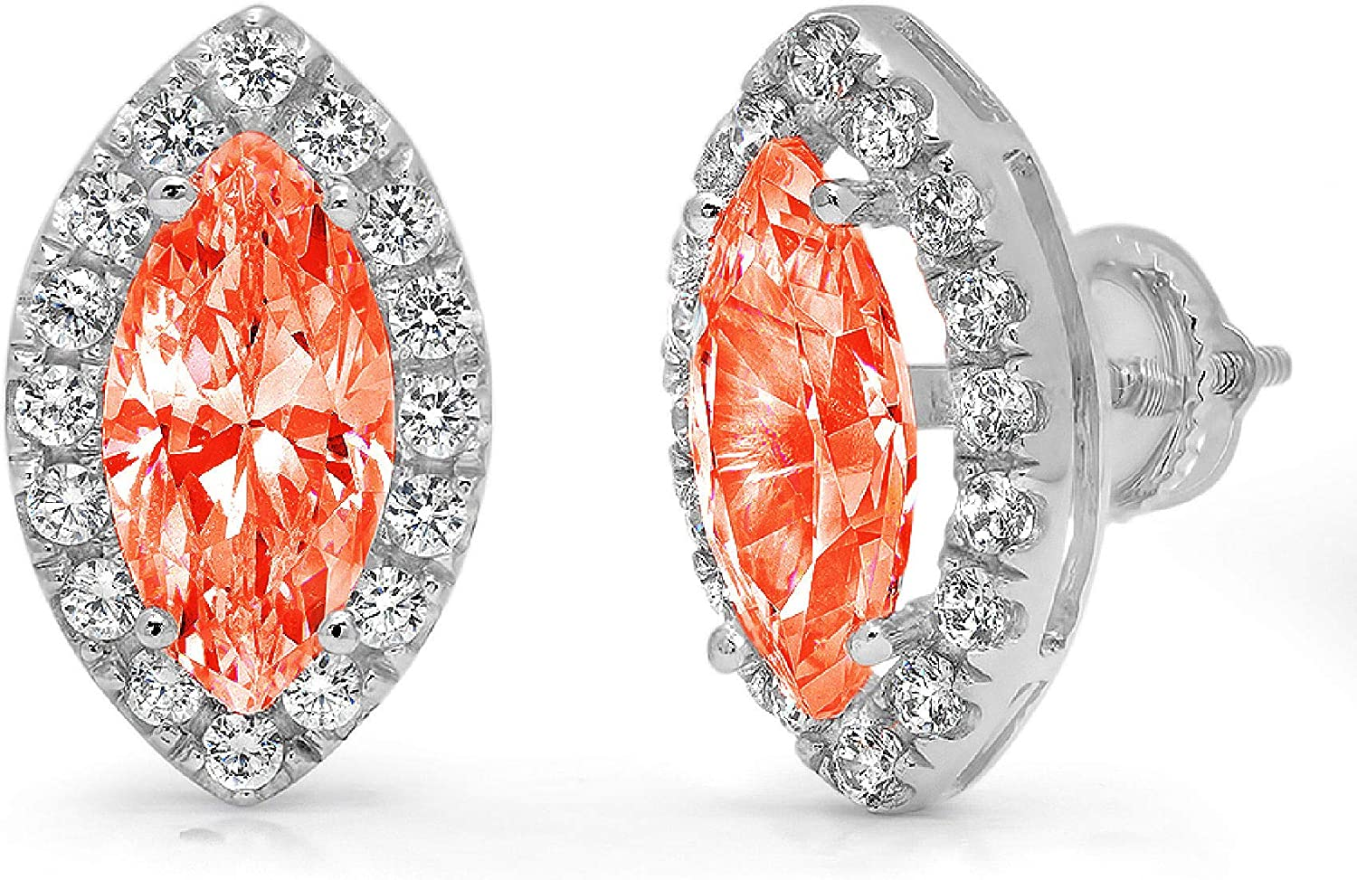 Clara Pucci 3.64 ct Brilliant Marquise Round Cut Halo Solitaire VVS1 Fine Red Simulated Diamond Gemstone Pair of Solitaire Stud Screw Back Earrings Solid 18K White Gold