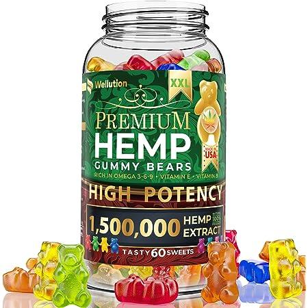 Wellution Hemp Gummies 1,500,000 XXL High Potency - Fruity Gummy Bear with Hemp Oil, Natural Hemp Candy Supplement