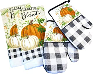 Fall Harvest Thanksgiving Kitchen Towels and Oven Mitts - Bundle of 4 Items: 2 Dish Towels and 2 Oven Mitts (Orange and White Pumpkins - Thankful Blessed)