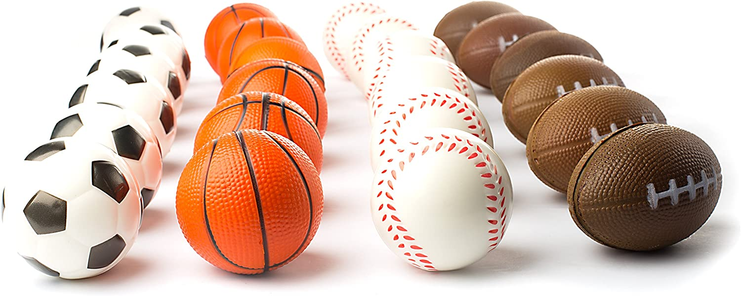 Set of 24 Sports 2.5 Stress Balls - Includes Soccer Ball, Basketball, Football, Baseball Squeeze Balls For Stress Relief, Party Favors, Ball Games and Prizes, Stocking Stuffers - Bulk 2 Dozen Balls