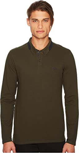 The Kooples - Long Sleeved Polo Shirt with Contrasting Ribbed Collar