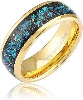 خاتم زفاف من التنجستين 100S مجوهرات للرجال النساء أوبال مرصعة ربطة ذهبية مريحة مقاس 6-16