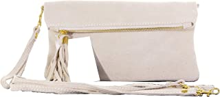 Primo Sacchi® Ladies Italian Soft Suede Leather Hand Made Fold Over Clutch, Wrist or Shoulder Bag. Includes a Branded Protective Storage Bag.