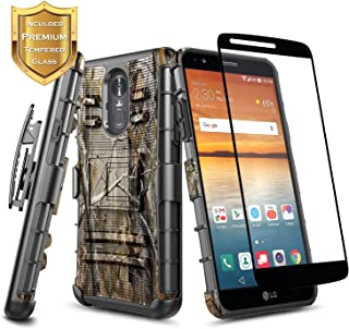LG Stylo 4 / Stylo 4 Plus Case, NageBee Built-in Kickstand Full-Body Shockproof Armor Belt Clip Holster Heavy Duty Rugged Durable Case with [Full Coverage Tempered Glass Screen Protector] -Camo