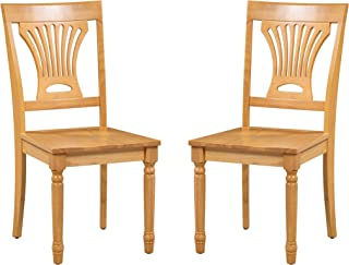 Trithi Furniture Portland Solid Wood Kitchen & Dining Chair with Wood Seat, Set of 2 in Oak Finish