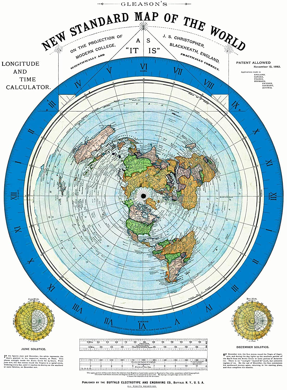 Amazon.com: Riley Creative Solutions 1892 Flat Earth Map - Alexander  Gleason's New Standard Map of The World 24 x 36 Large Wall Art Poster:  Posters & Prints
