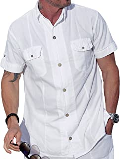 M&B USA Cotton White Short-Sleeve Button Down Casual Shirt Two Pocket Shirt