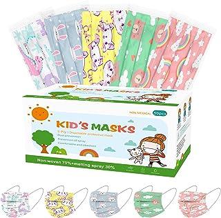 Kids Disposable Face Masks-Individually Wrapped 50PCS Kids Face Masks,3 Layer Breathable Kids Masks Disposable Boys Girls