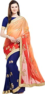 Viva N Diva Indian Festival Sarees for Women Wedding Sari Bridal wear Georgette Saree with Unstitched Blouse Piece