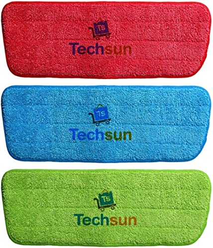 TS WITH TECHSUN Replacement Reusable Microfiber Spray Cleaning Mop Head Cloth Pads, Standard, Multicolour -3 Pieces
