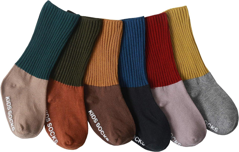 Fynnsure Baby Knee High Socks Toddler Non Slip Socks 3-6 Packs Girls Boys Tube Sports Striped Long Socks Cotton Sockings