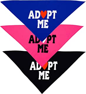Native Pup Adopt Me Dog Bandana | 3 Pack Scarf Set| Blue, Pink and Black Handkerchief Bandannas