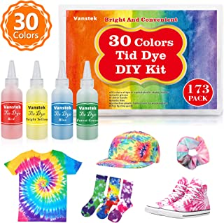 Vanstek 30 Colors Tie Dye Kit, Tie Dye Shirt Fabric Dye for Women, Kids, Men, with Rubber Bands, Gloves, Plastic Film and Table Covers for Family Friends Groups Party Supplies