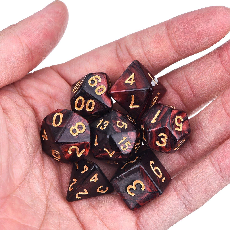 Gold Glitter EBOOT 7 W/ürfel Polyedrische W/ürfel kompatibel mit DND Dice Set Dungeons and Dragons mit schwarzem Beutel