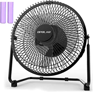 OPOLAR Battery Operated Rechargeable Desk Fan for Home Camping Hurricane, 9 Inch Battery..