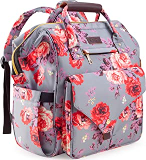 Diaper Bag Backpack, Kaome Large Capacity Nappy Bags, Waterproof Baby Bag Floral Insulated Durable Travel Maternity Back Pack for Baby Girls (with Diaper Pad, Bottle Bag)