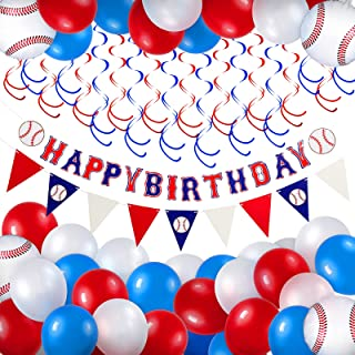 62 Pieces Baseball Themed Birthday Party Decorations Including 1 Baseball Happy Birthday Banner, 1 Triangle Bunting Flag, ...