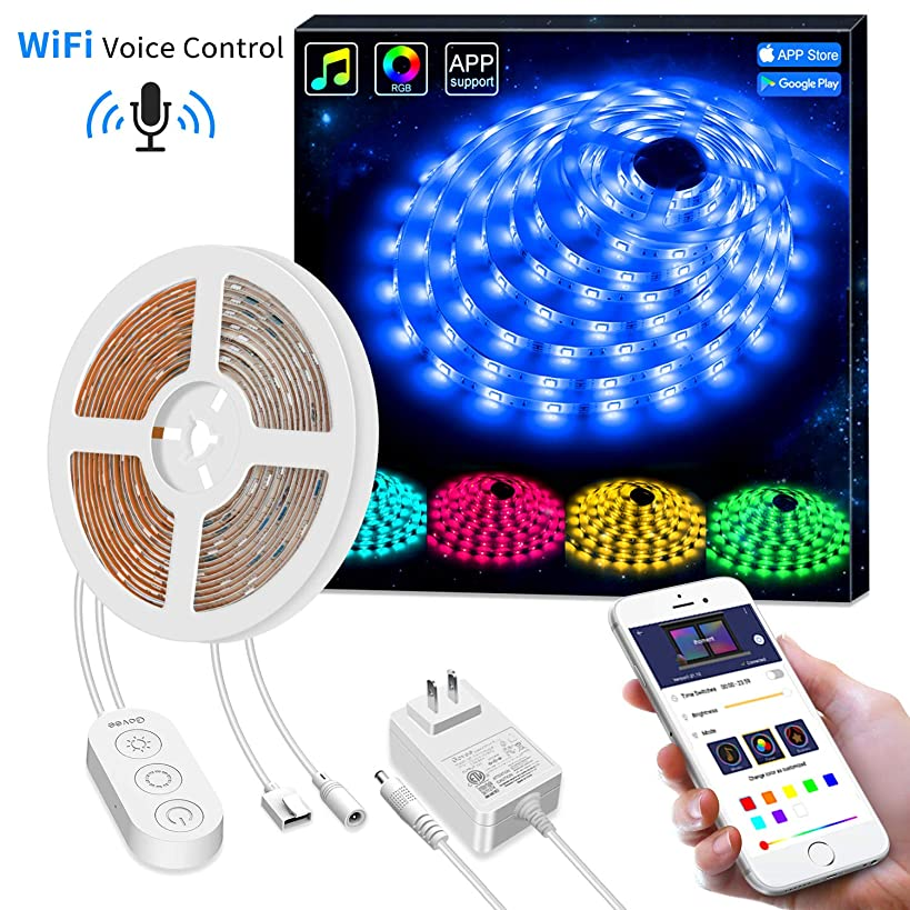 Govee Smart WiFi LED Strip Lights Works with Alexa, Google Home [Brighter 5050 LED, 16 Million Colors] Phone App Controlled Music Light Strip for Home, Kitchen, TV, Party, for iOS and Android, 16.4ft