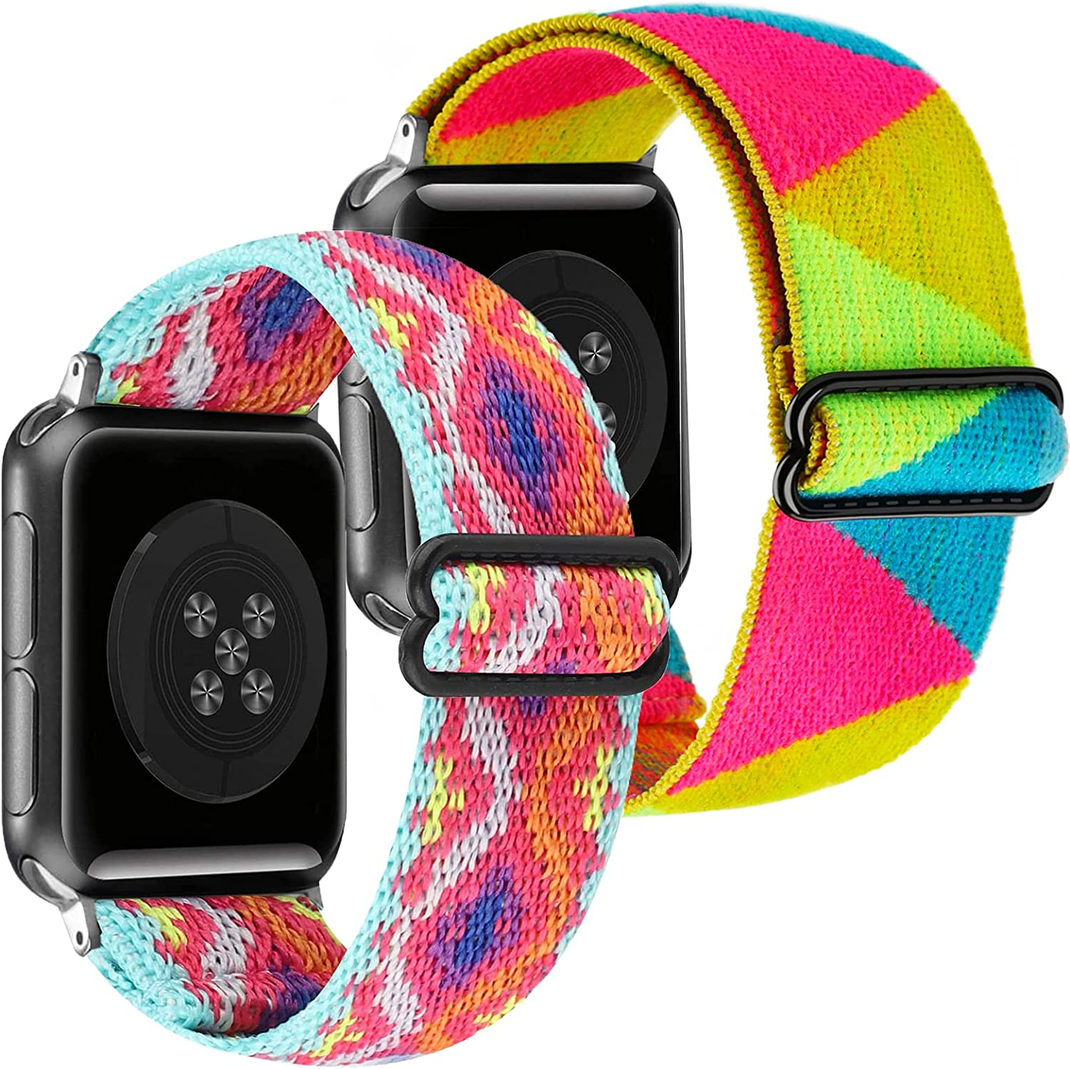 Stretchy Nylon Solo Loop Bands Compatible with Apple Watch 38mm 40mm, Adjustable Stretch Braided Sport Elastics Women Men Strap Compatible with iWatch Series 6/5/4/3/2/1 SE