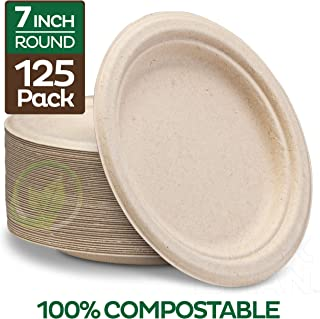 Stack Man Plates [125-Pack] Heavy-Duty Quality Natural Disposable Bagasse, Eco-Friendly Made of Sugar Cane Fibers, 7 inch, Brown