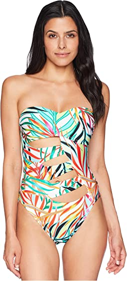 Kenneth Cole Exoitic Palm Bandeau One-Piece with Cut Outs