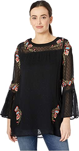 Landry Swiss Dot Tunic w/ Ruffle Sleeve