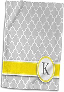 3D Rose Name Initial Letter K-Monogrammed Grey Quatrefoil Pattern-Personalized Yellow Gray Towel, 15