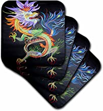 3dRose CST_18245_3 Mythology Chinese Dragon Ceramic Tile Coasters, Set of 4
