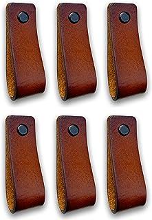 Tiradores de Cuero | Coñac / 6 piezas | 16,5 x 2,5 cm |