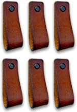 Brute Strength - Leren Handgrepen - Cognac - 6 stuks - 16,5 x 2,5 cm - incl. 3 kleuren schroeven per leren handvat voor ke...