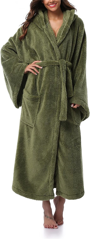 FADSHOW Women's Long Hooded Velvet Bathrobe UltraSoft Winter Fleece Plush Nightgown