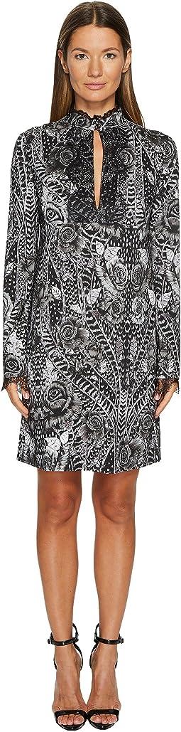 Just Cavalli - Roses Printed Long Sleeve Dress