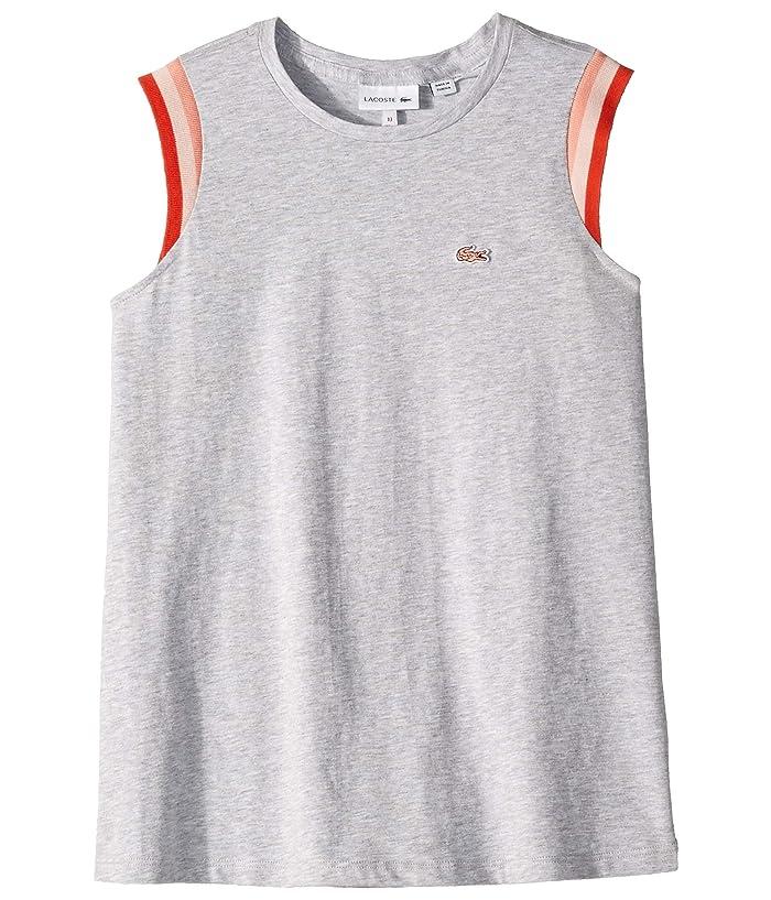 Lacoste Kids Sleeveless Athleisure Tee Shirt (Toddler/Little Kids/Big Kids) (Silver Grey Chine) Girl
