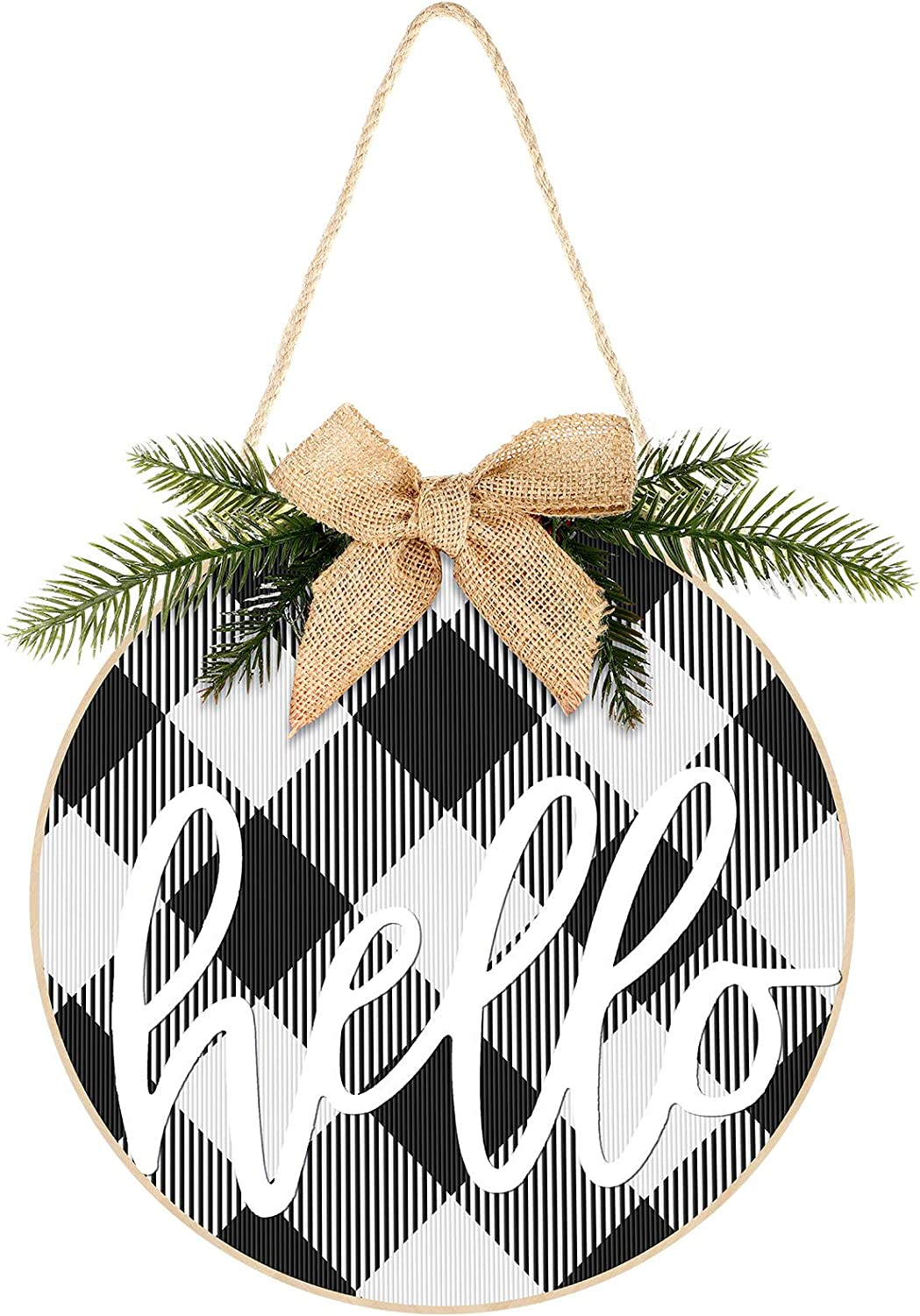 Christmas Wreath Hanging Sign Buffalo Plaid Wooden Door Hanger for Front Door Rustic Burlap Wooden Holiday Decor for Christmas Home Window Wall Farmhouse Decoration Hello