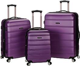 Rockland Melbourne Hardside Expandable Spinner Wheel Luggage, Purple, 3-Piece Set (20/24/28)