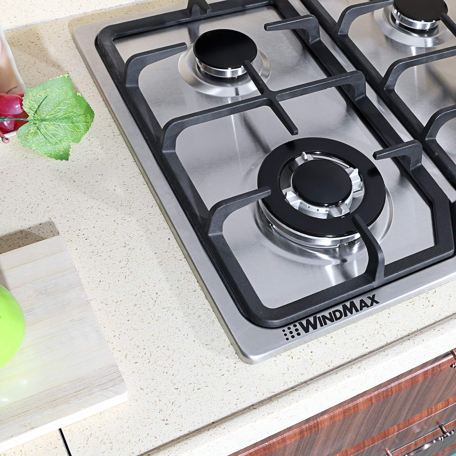 """WindMax 23"""" Stainless Steel 4 Burner Stoves Gas Hob Cooktops Cooker Gas Oven 11259Btu/H"""