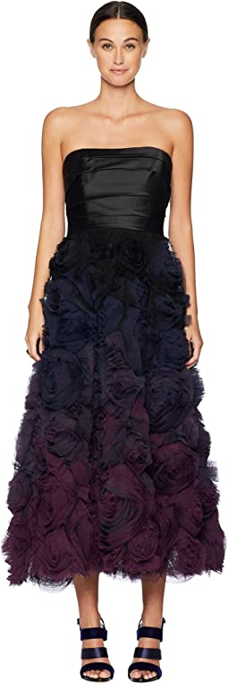 Strapless Ombre Textured Tea Length Gown w/ Mikado Bodice