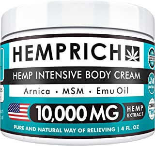 Hemp Cream 10,000mg | 4oz - Made in USA - Back, Neck, Knee Pain Relief - Natural Hemp Oil Cream - Anti Inflammatory - Fast Sore Muscle & Joint Relief - Arnica, MSM, EMU Oil & Glucosamine - Non-GMO