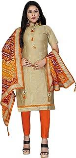 Maroosh Women'S Cotton Fabric Beige Color Chudidar Free Size Dress Material