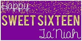 Sweet Sixteen 16 Purple and Gold Birthday Banner Personalized Party Backdrop
