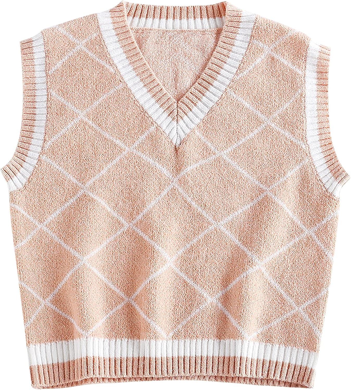 YODNBUK Women's Sweater Vest V-Neck Plaid Argyle Sleeveless Knit Cropped Sweater