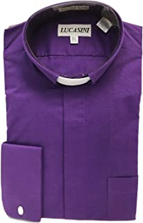 Big and Tall Tab Collar Clergy Shirt French Cuff in White, Black, and Purple