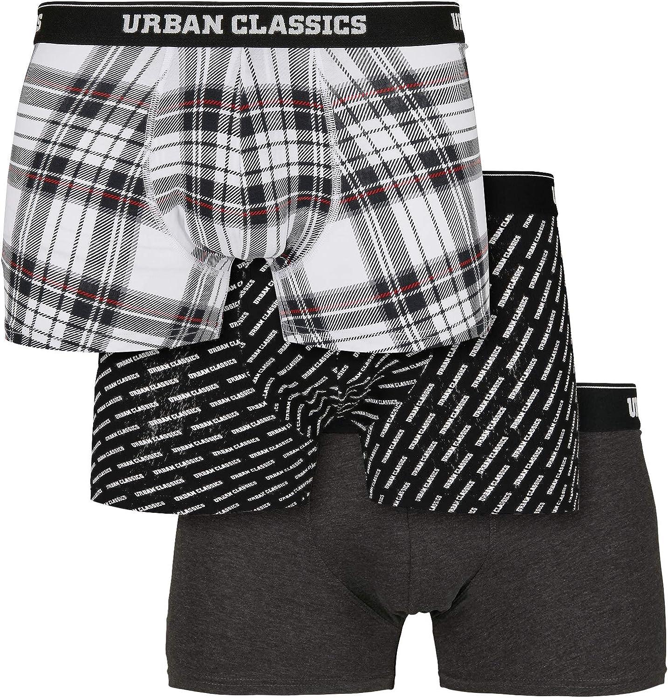 Urban Classics Max 84% OFF Men Boxer Shorts Pack OFFer 3 Plaid of cha+Logo AOP+wht