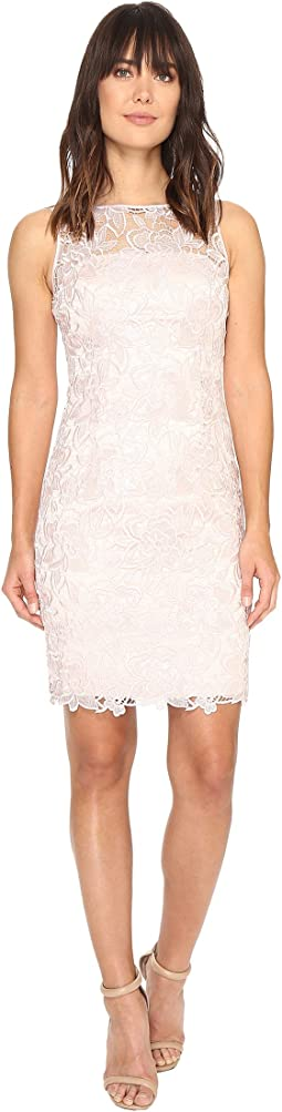 Sleeveless Sequin Guipure Lace Sheath Dress