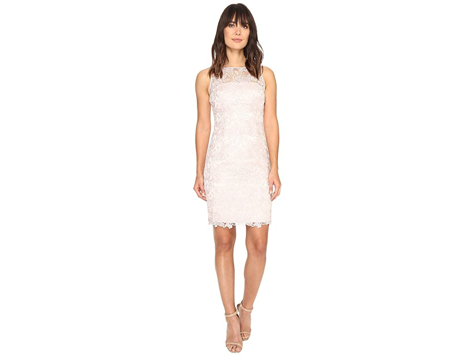 Adrianna Papell Sleeveless Sequin Guipure Lace Sheath Dress (Blush) Women