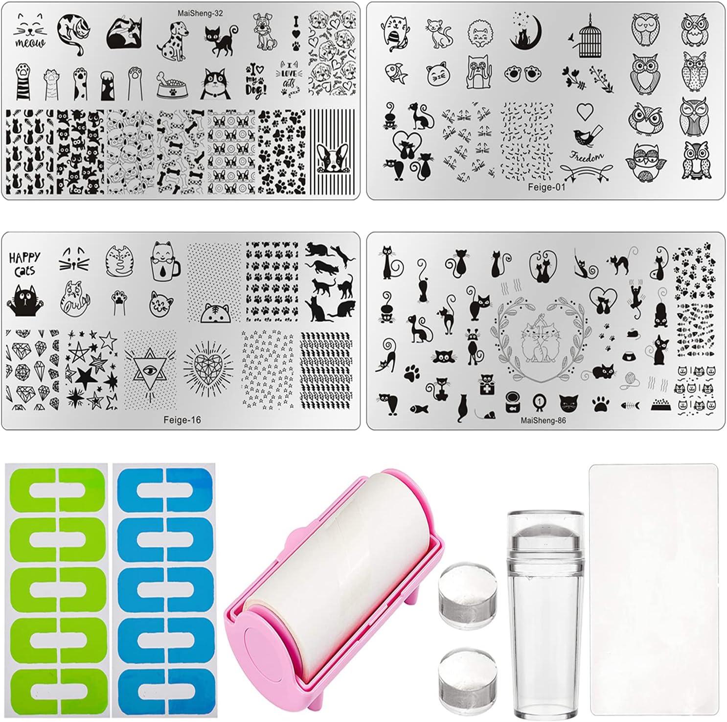 NICENEEDED 13Pcs Kit de Estampado de Uñas, 4 Uds Sellos de Arte de Uñas de Animales, Selladores de Uñas Y Raspador de Uñas Y 2 pieza de Adhesivo Protector de Esmalte de Uñas En Forma de U