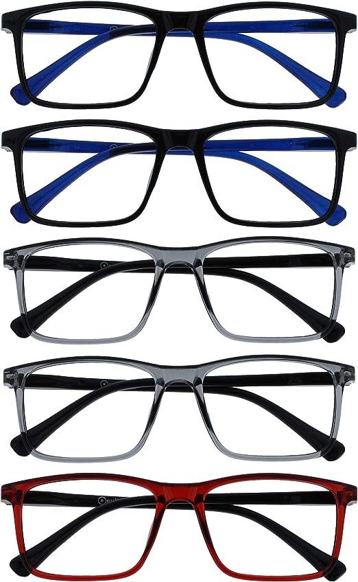 Opulize Ink 5 Pack Reading Glasses Large Black Grey Men Women Spring Hinges Reading Aid Rrrr4 11177 3 00 Drogerie Körperpflege