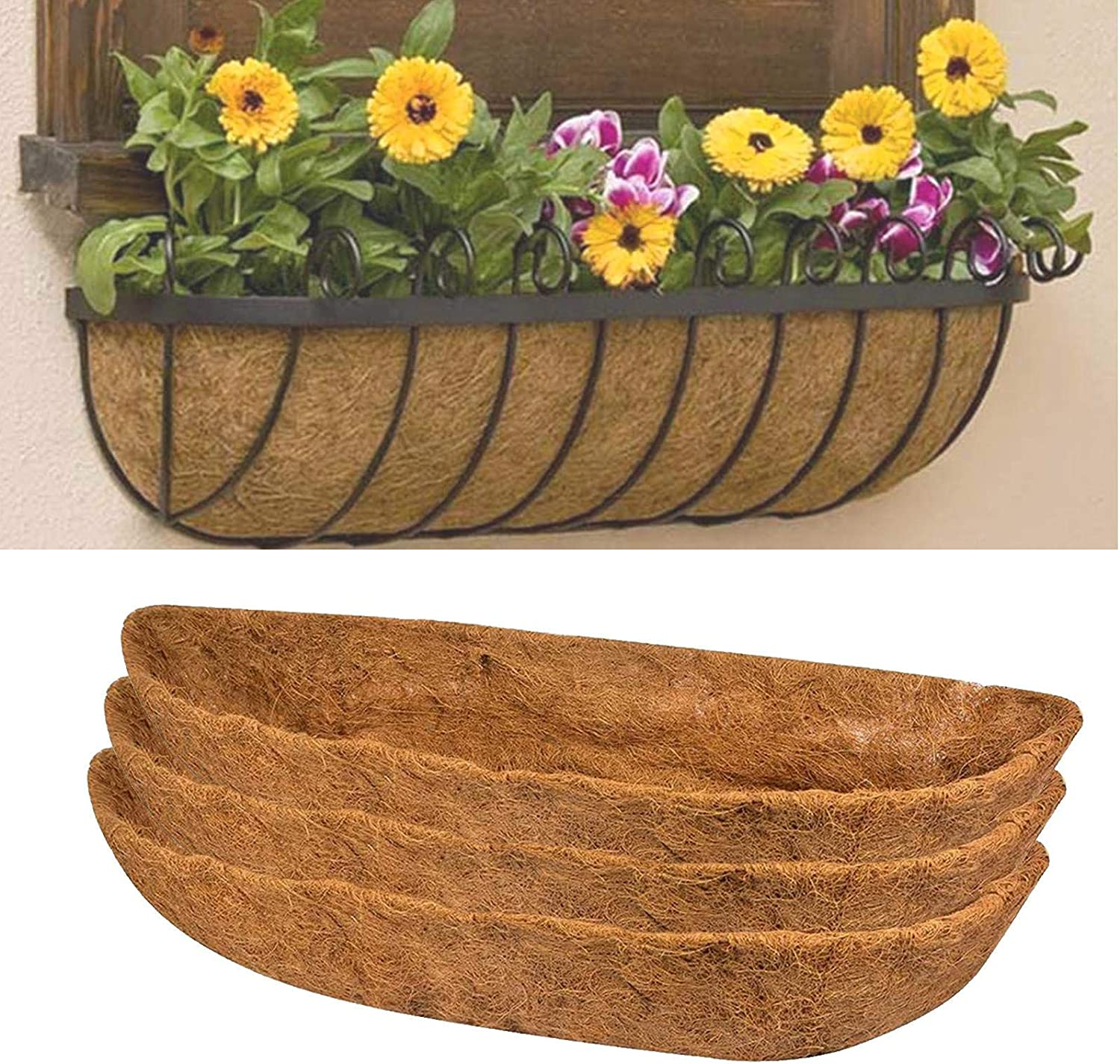 Ksruee Pack of 3 Extra Deep 24 Wall Liner Mail order Planter Fresno Mall Coco Basket