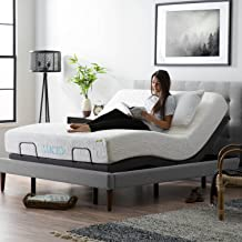 LUCID L300 Ergonomic Upholstered 5 Minute Assembly Dual USB Charging Stations Head and Foot Incline with Wireless Remote Control Adjustable Bed Base, Queen, Charcoal