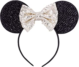 Kewl Fashion Sequins Bowknot Lovely Mouse Ears Headband Headwear for Travel Festivals